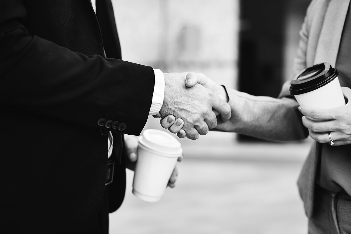 Business handshake as a greeting
