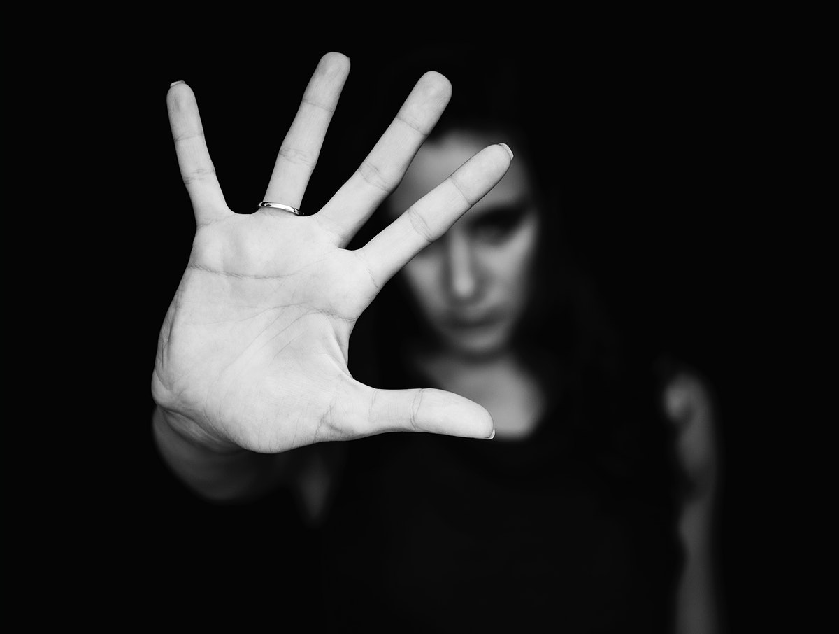 Woman showing her blank palm