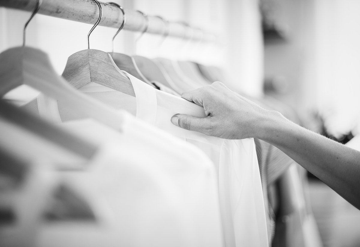 Woman checking out some clothes