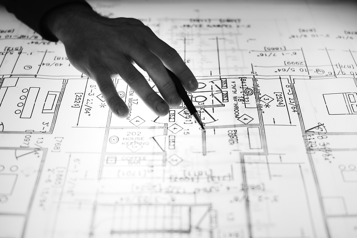 Close up of designer working on a layout