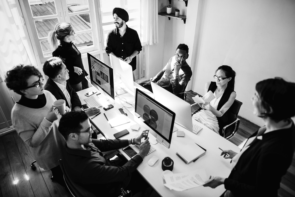 Co-workers working together in an office