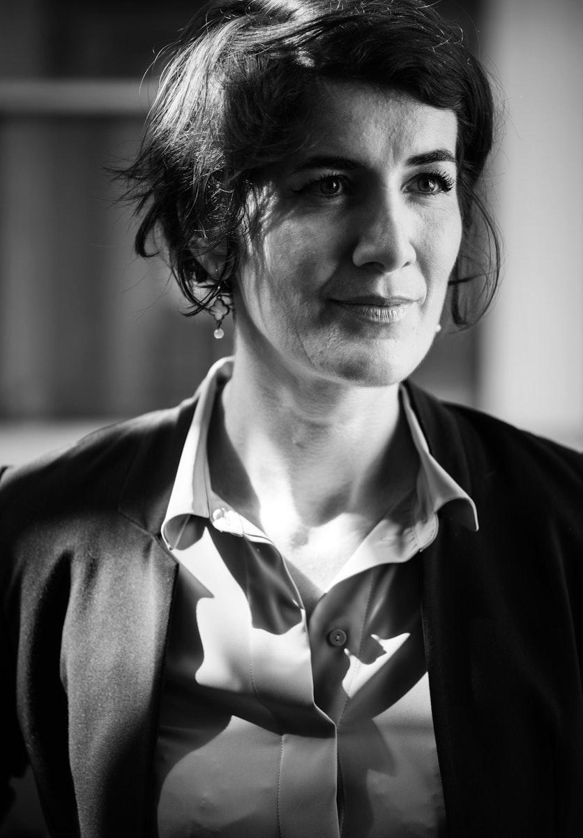 Businesswoman portrait in black and white