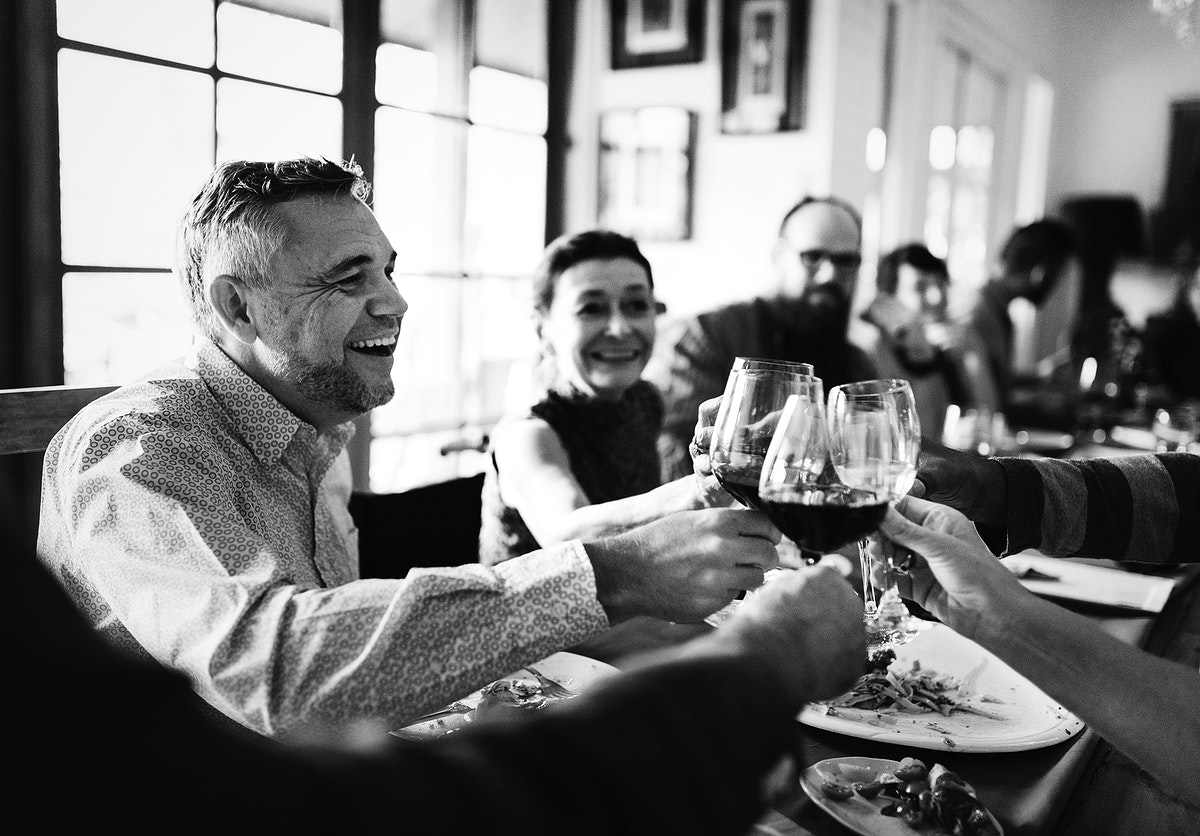Group of diverse friends celebrating together