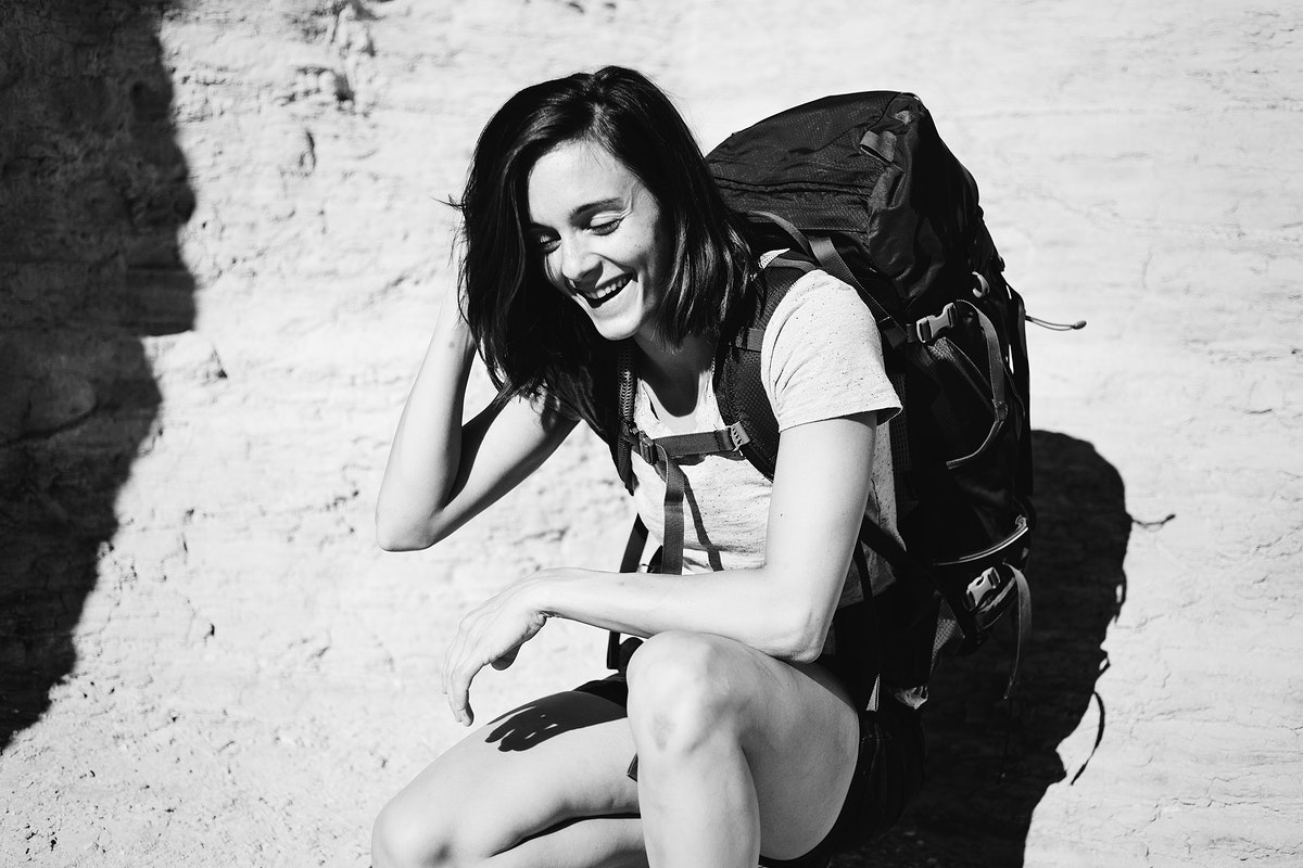 Woman traveling with a backpack