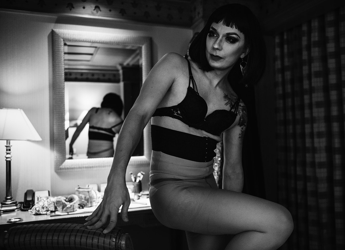 Drag queen in a dressing room