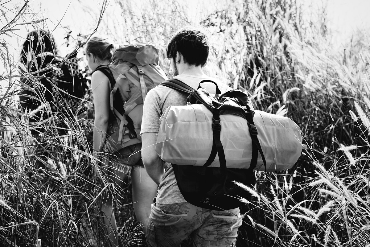 Backpackers on an adventure in nature