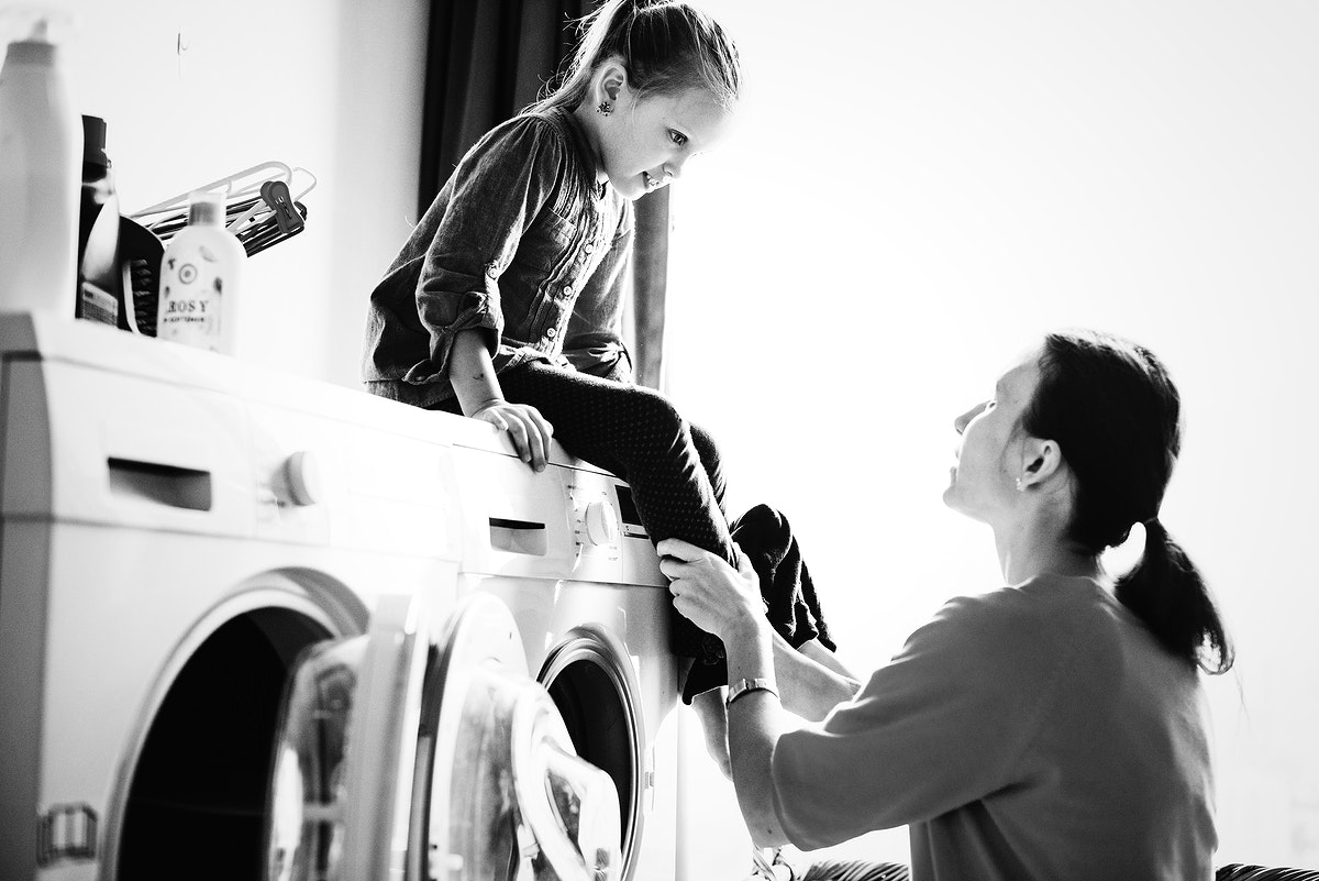 Kid helping with house chores