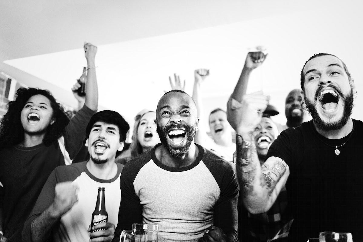 Friends cheering sports at bar