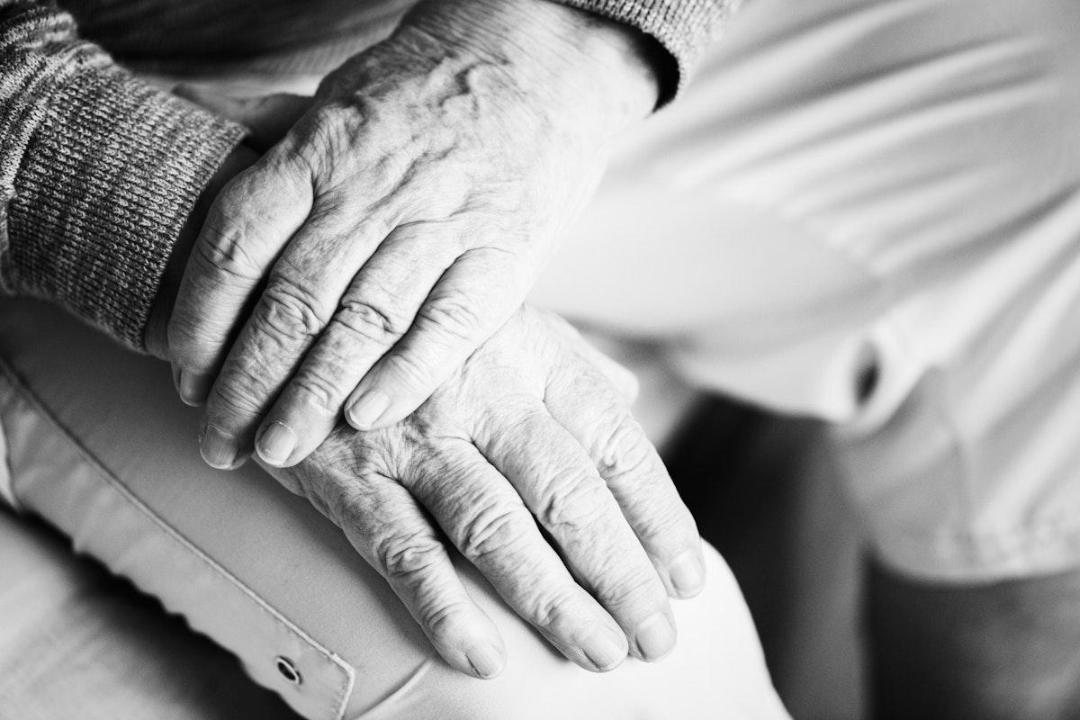 Closeup of wrinly elderly hands