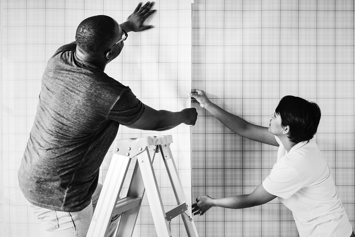 Couple decorating a new house