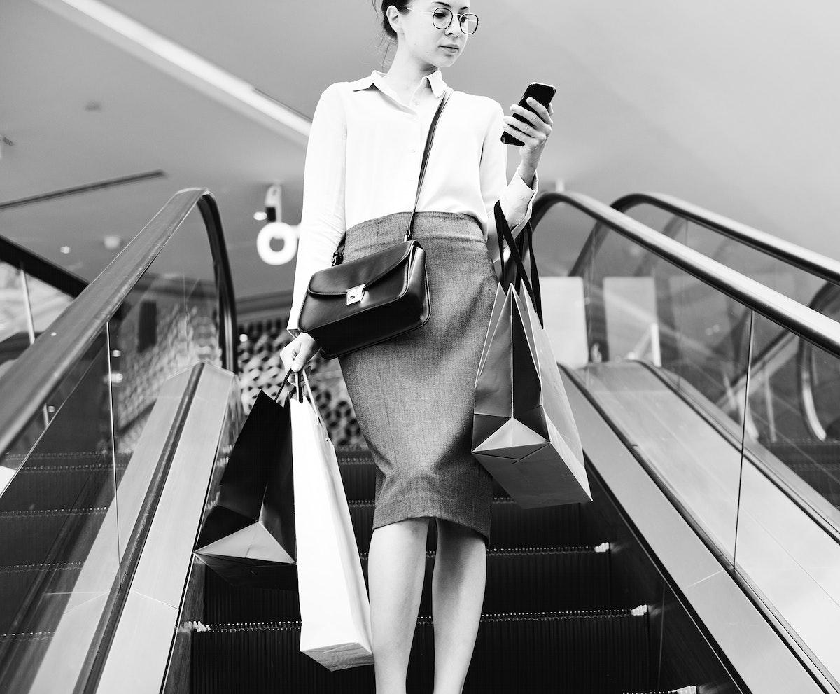 Woman enjoy shopping at a mall