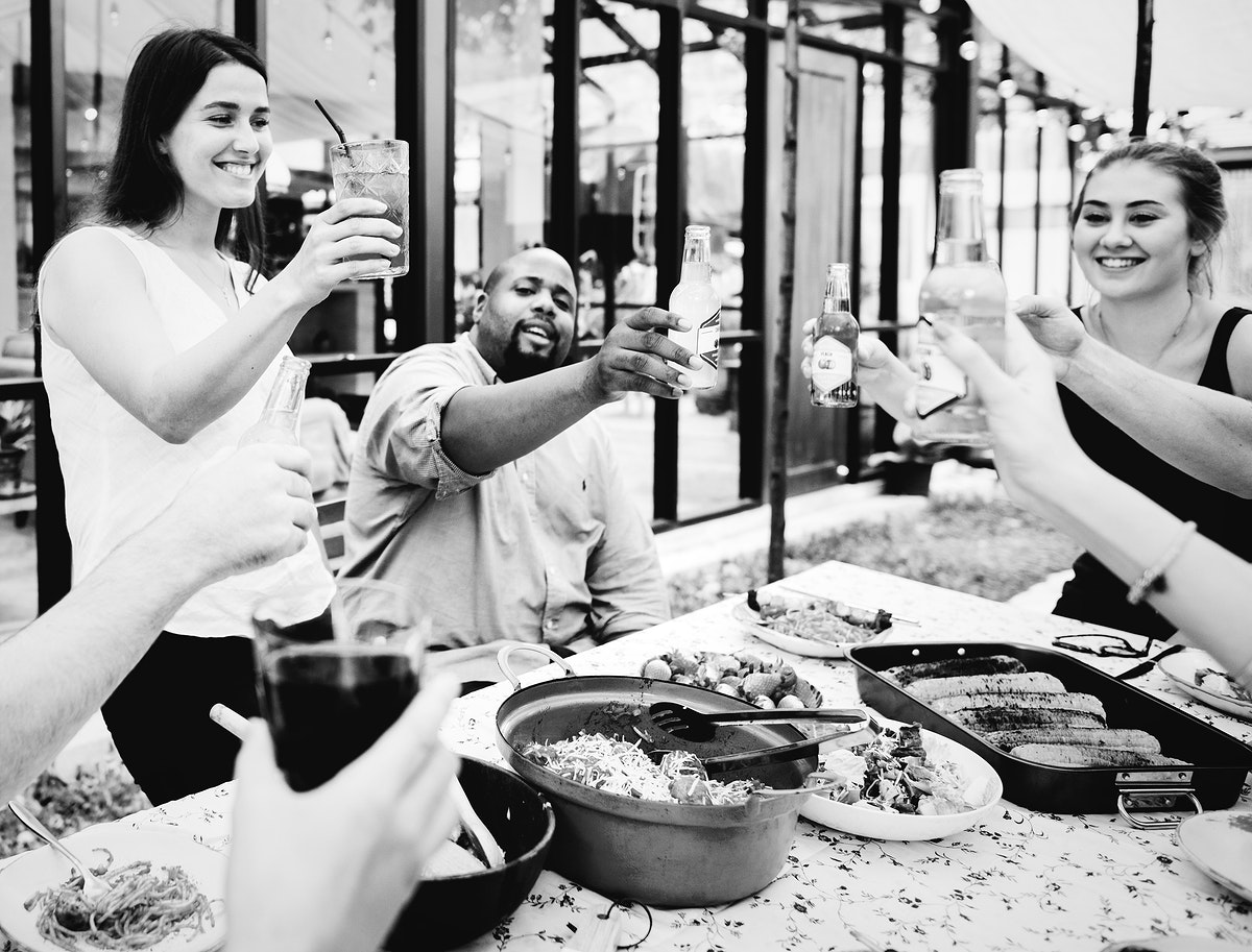 Friends doing a toast outdoors