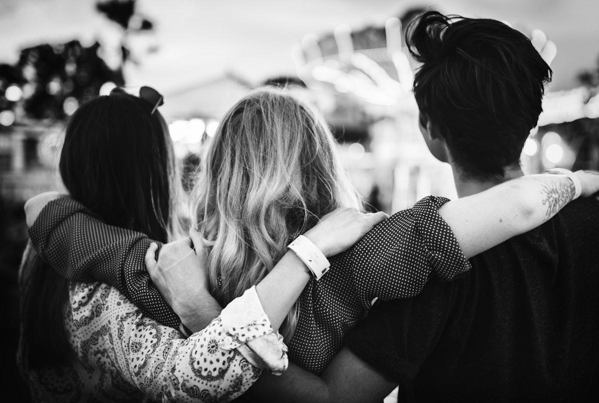 Group of friends enjoying the amusement park
