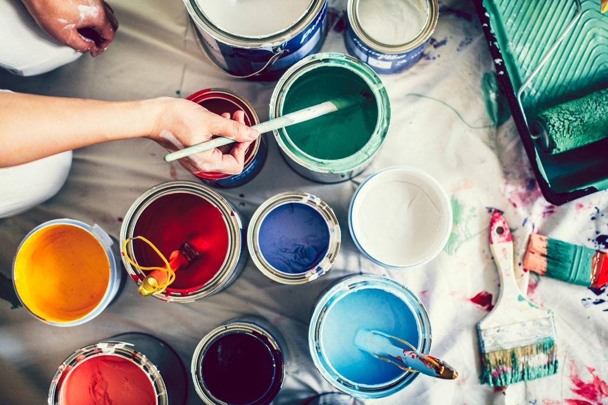 Pots of paints and colors