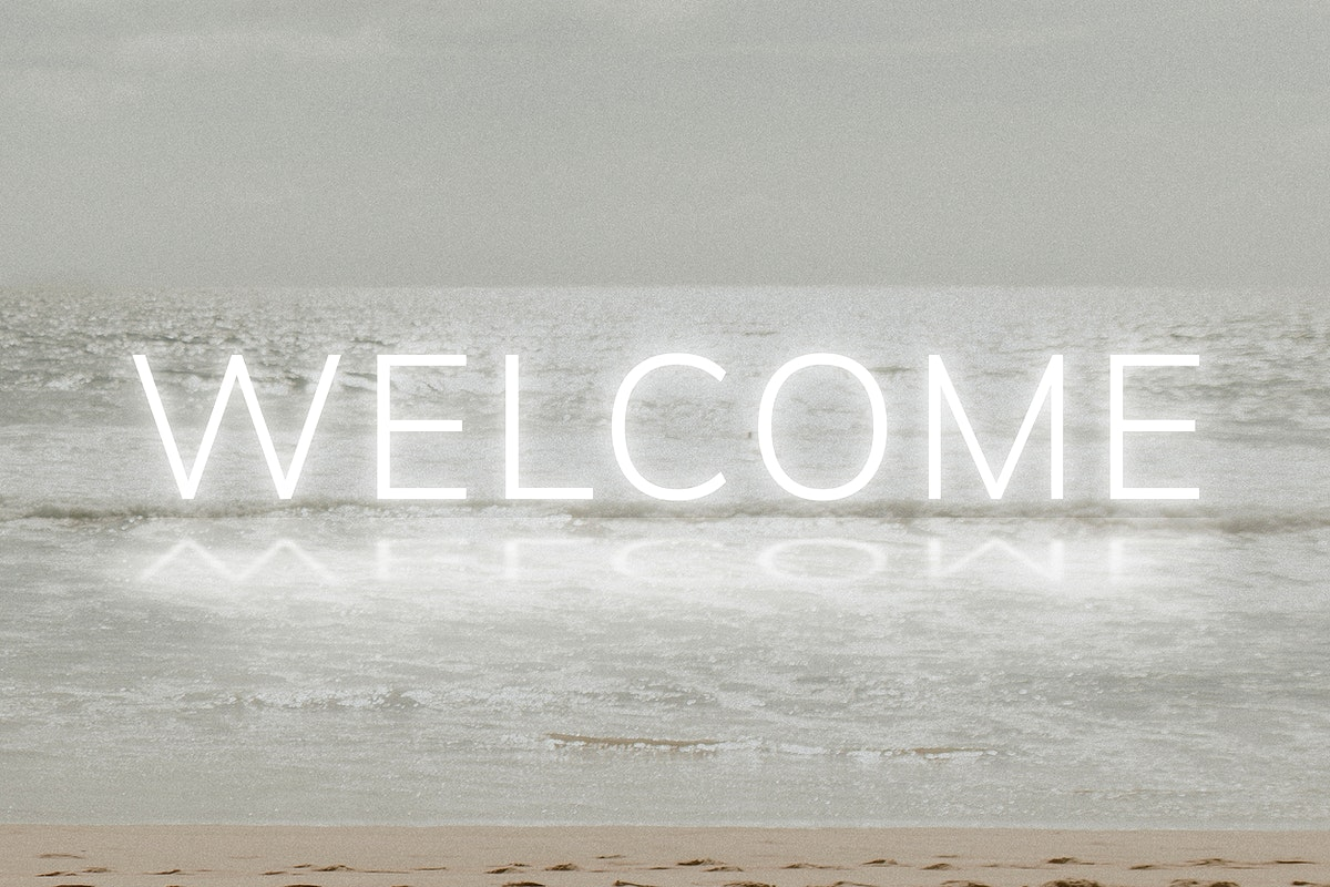 White welcome neon word vector typography