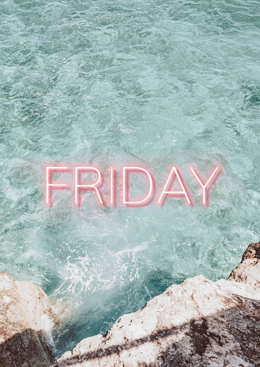 Friday pink neon word vector typography