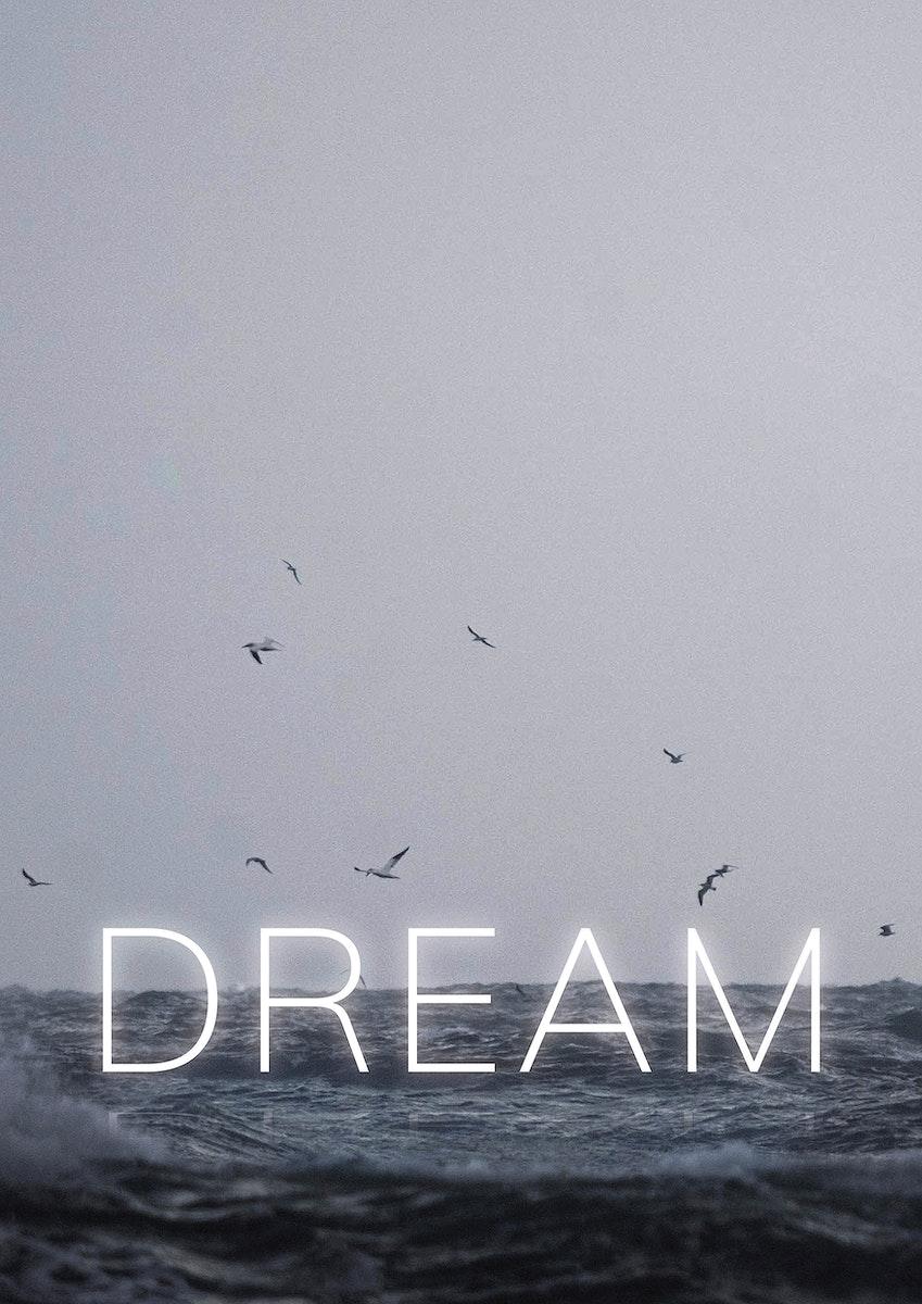 Dream white neon word vector typography