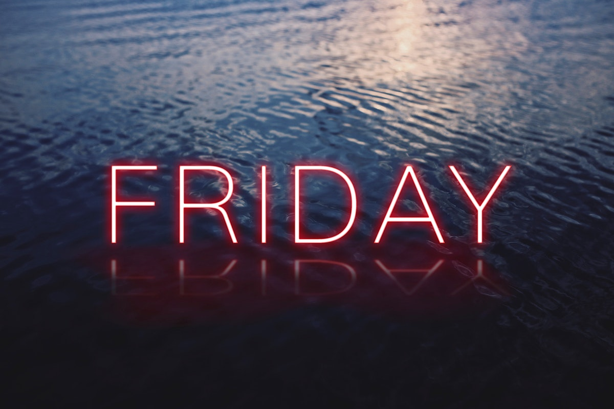 Friday red neon word vector typography