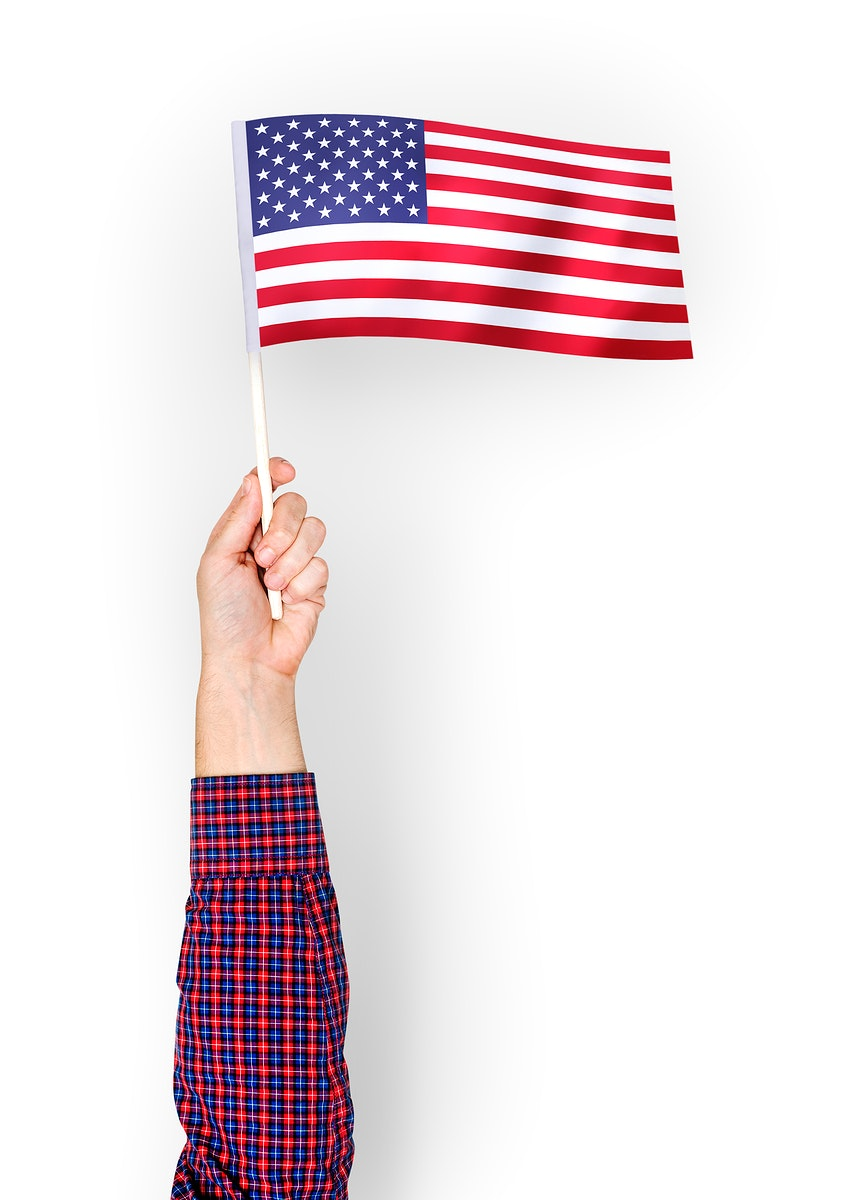 Person waving the flag of the United States of America