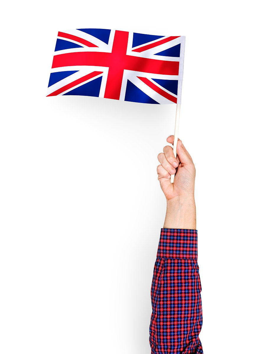 Person waving the flag of United Kingdom of Great Britain and Northern Ireland