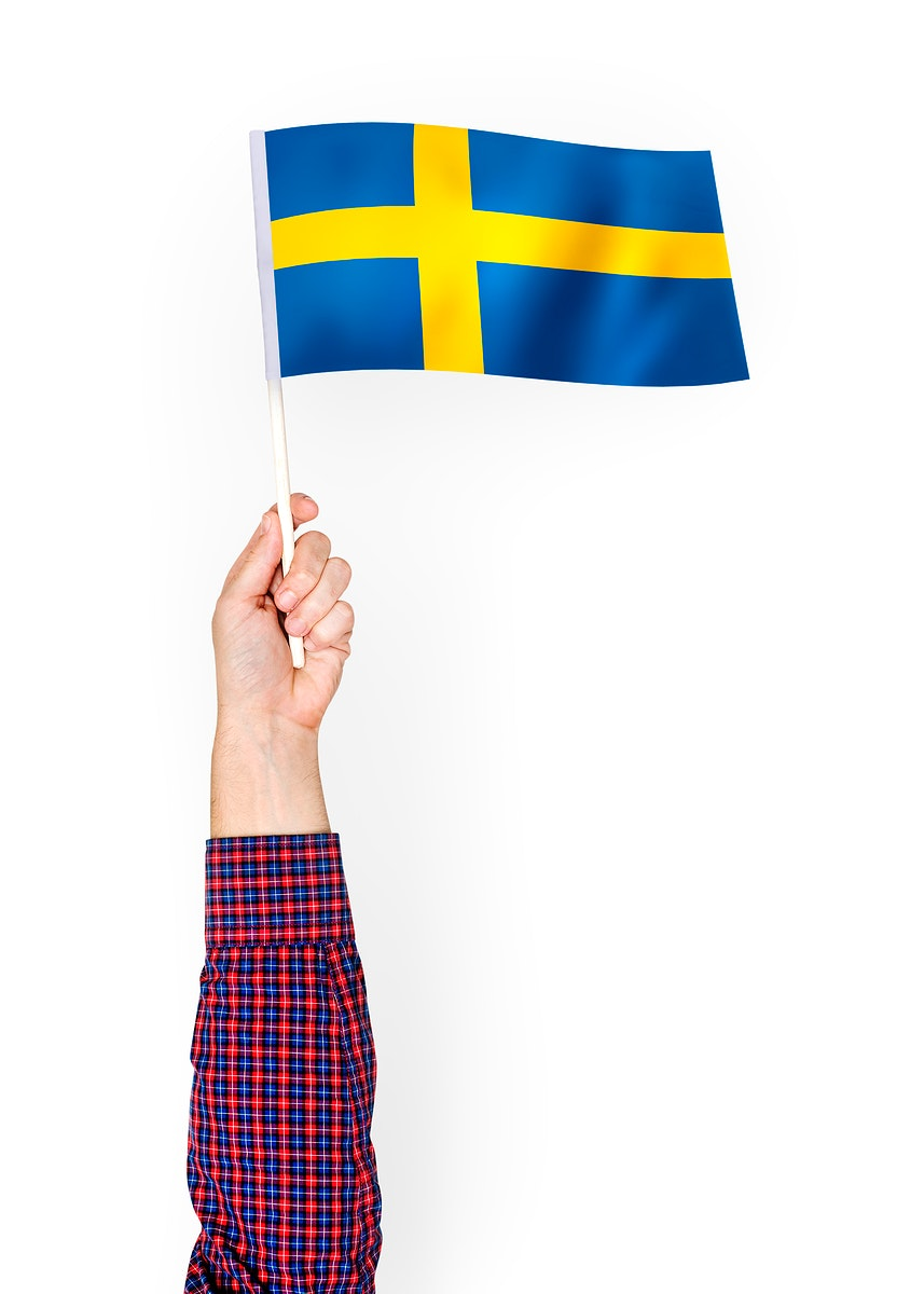 Person waving the flag of Kingdom of Sweden