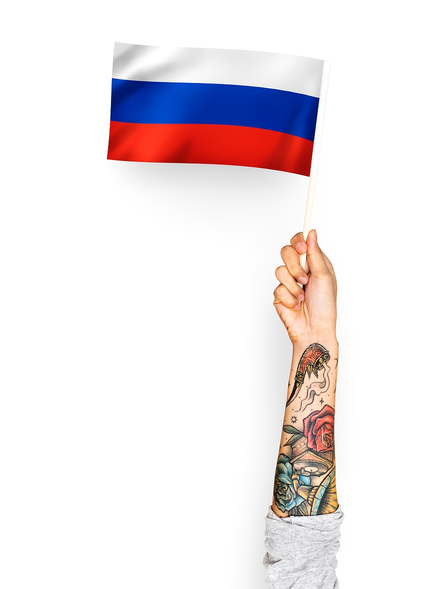 Person waving the flag of Russian Federation