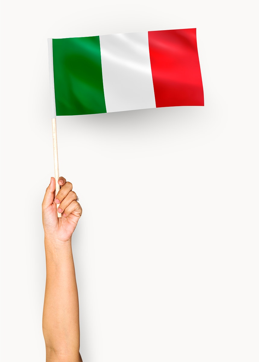 Person waving the flag of Italian Republic