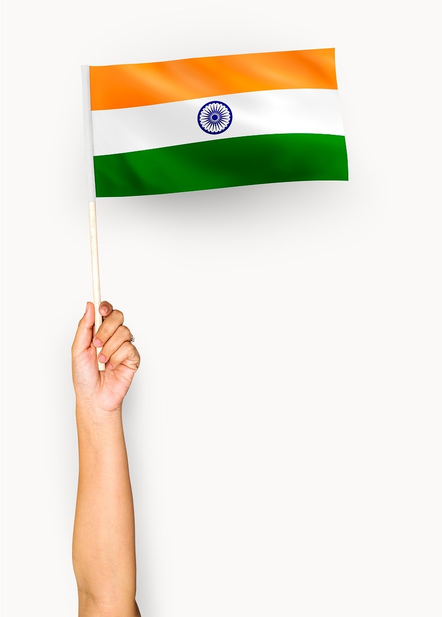 Person waving the flag of Republic of India