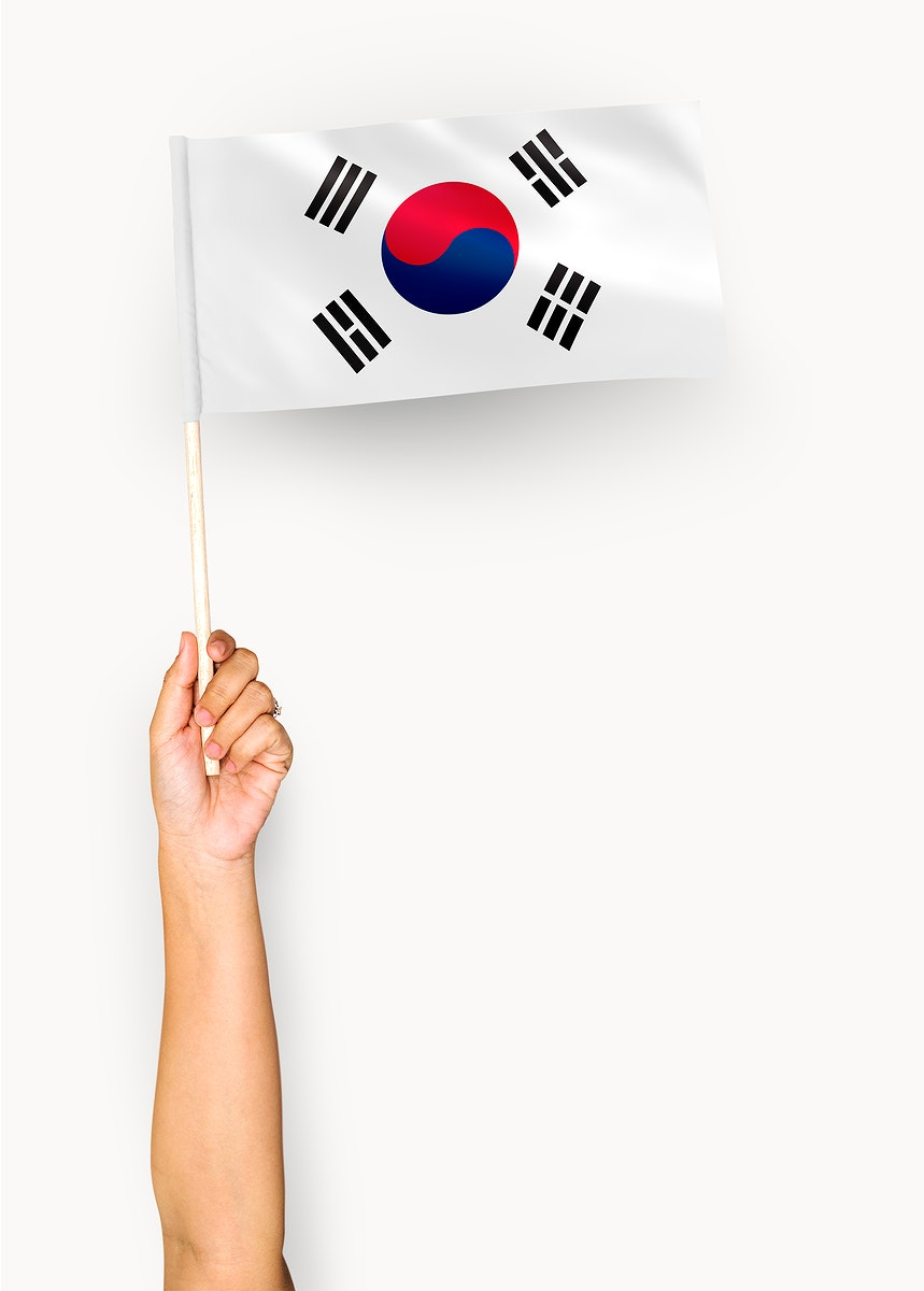 Person waving the flag of South Korea