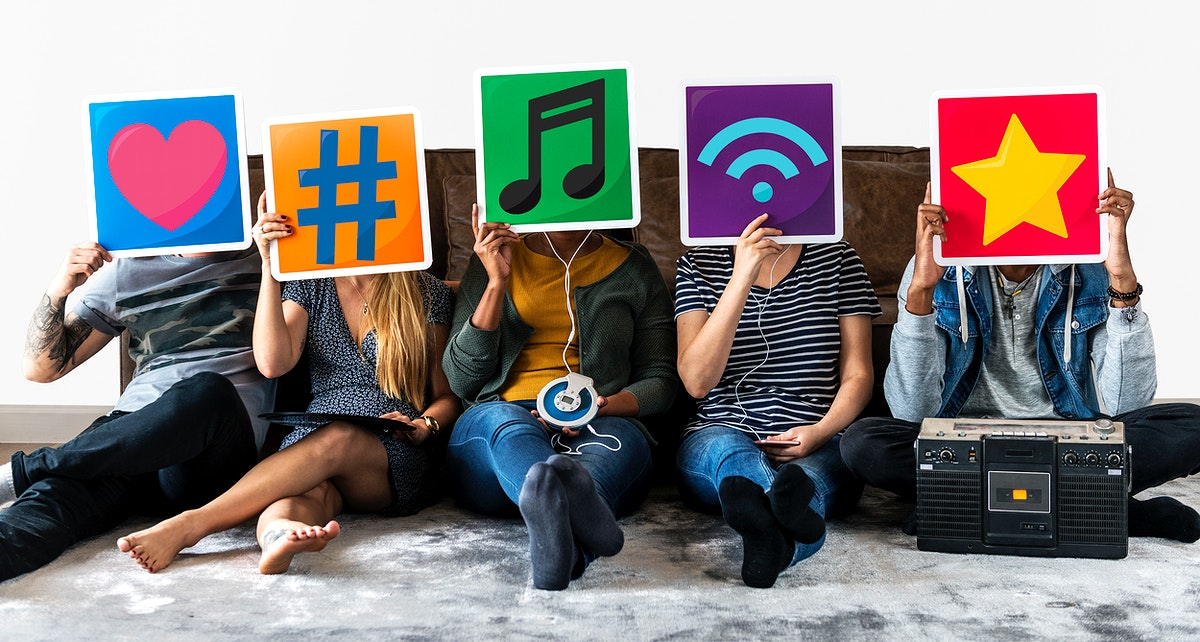 Diverse people with music and social media icons