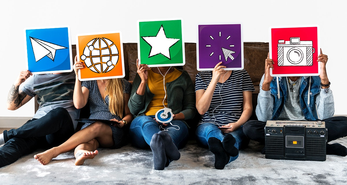Diverse people with social media icons