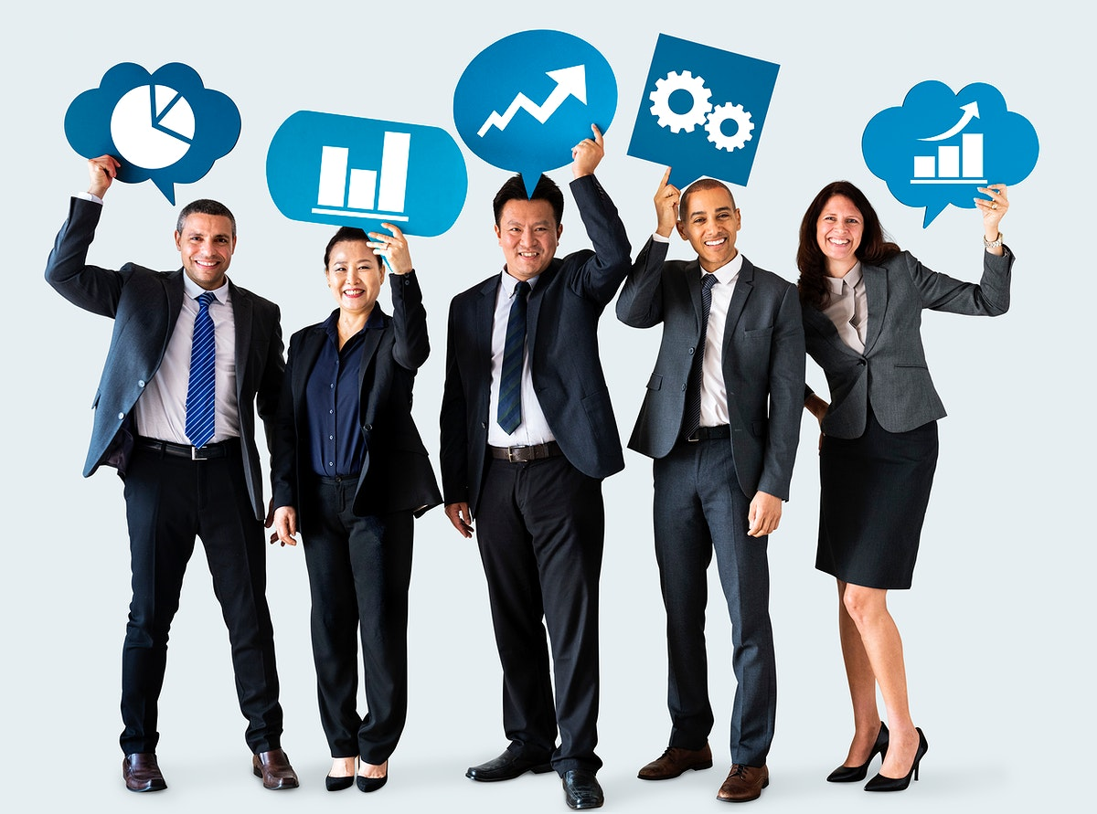 Diverse business people holding speech bubbles with icons