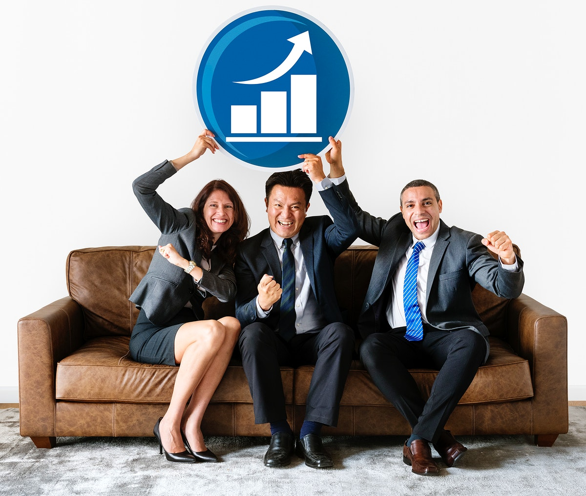 Business people holding graph icon