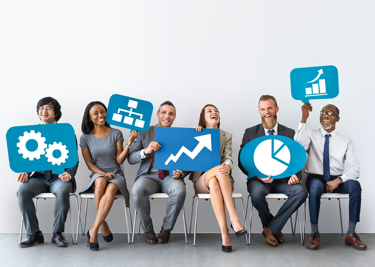 Diverse business people holding icons