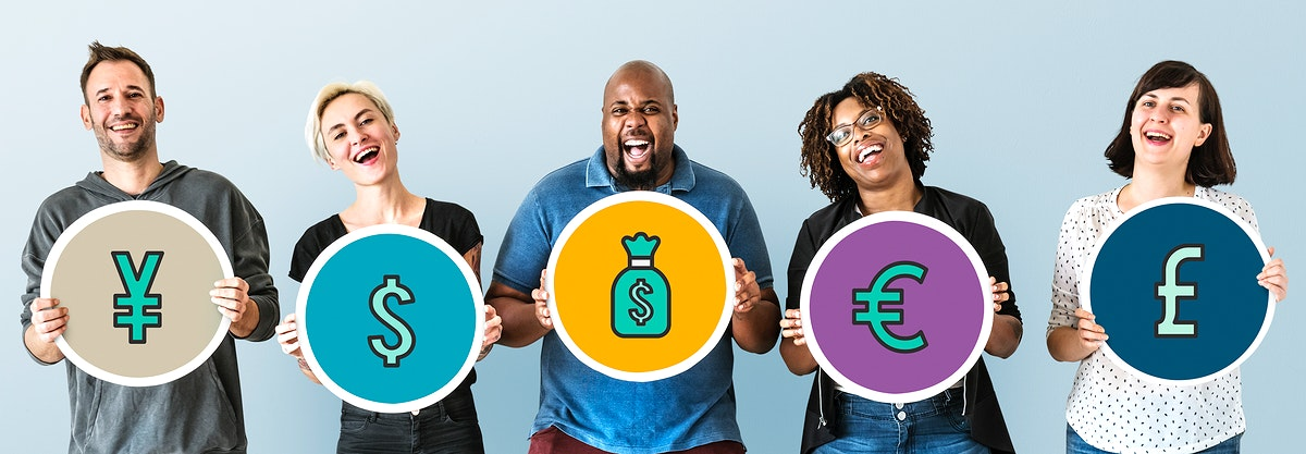 Diverse people holding financial icons