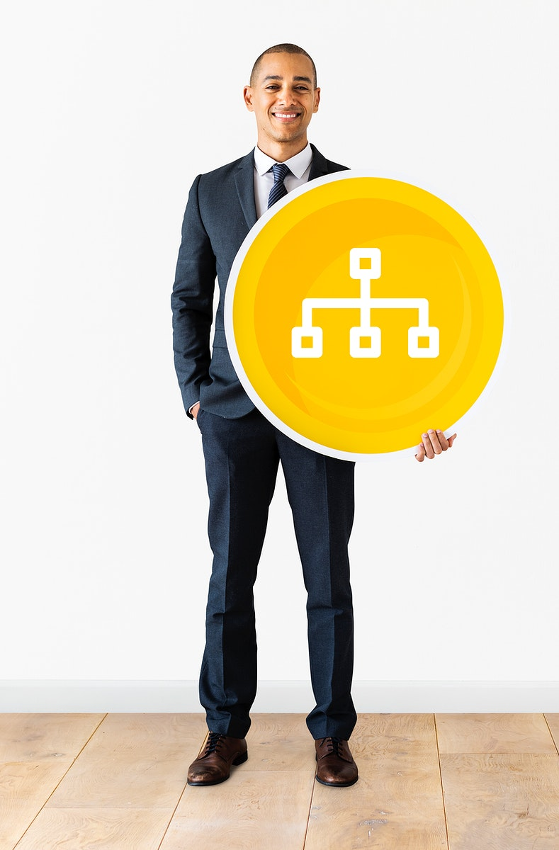 Businessman with a flowchart icon