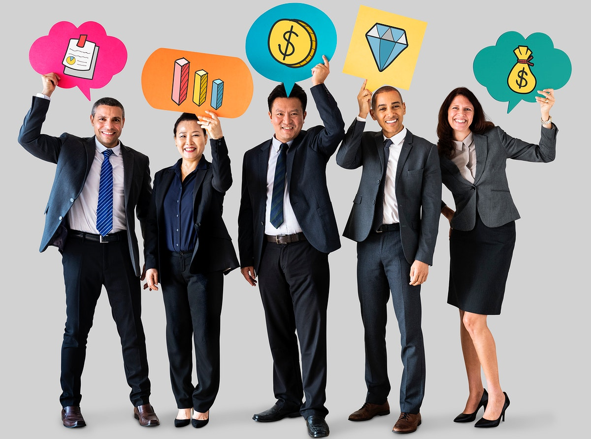 Business people holding speech bubbles with financial icons