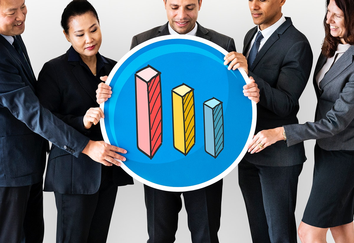 Business people holding a graph icon