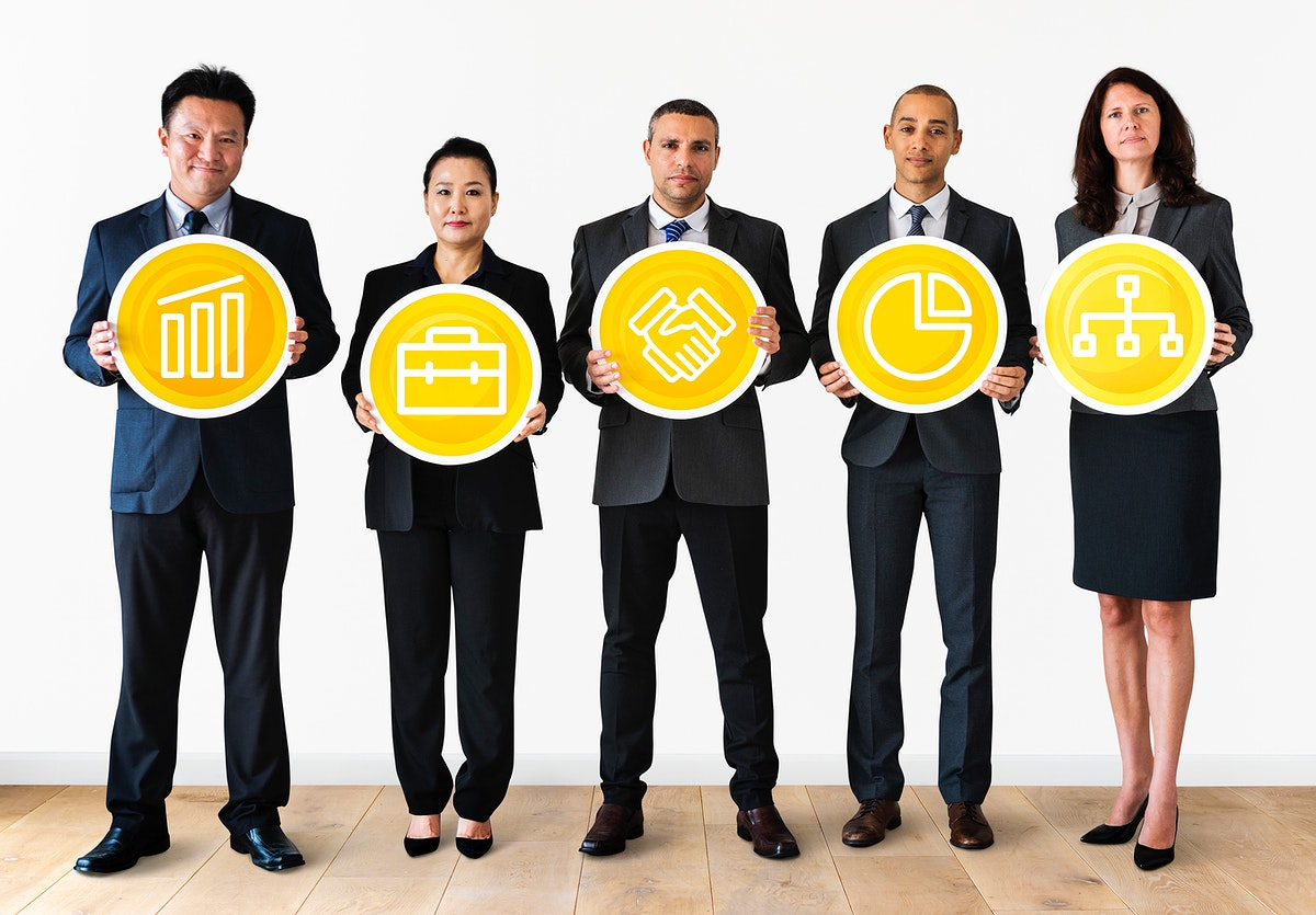 Business people holding financial icons