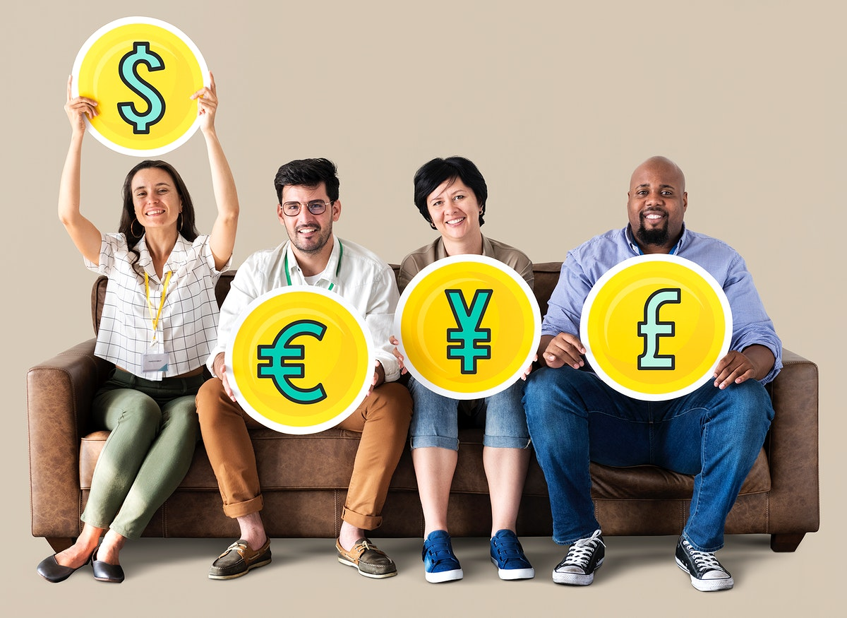 Diverse people holding currency icons