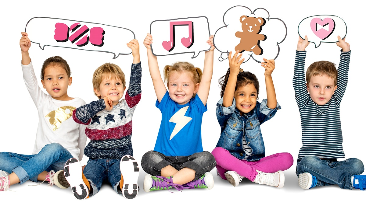 Happy kids holding speech bubbles with cute icons