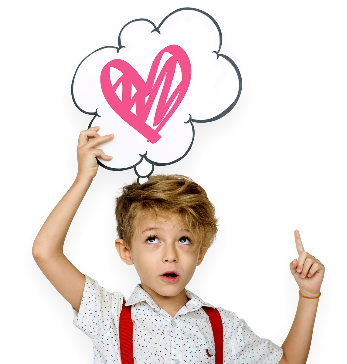 Cute boy thinking about love