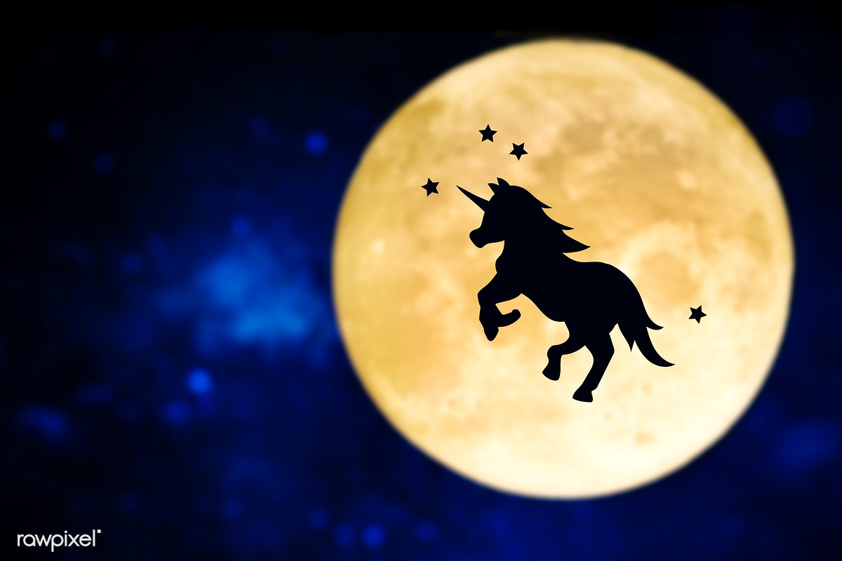 Unicorn silhouette over a full moon | Free stock photo - 416083