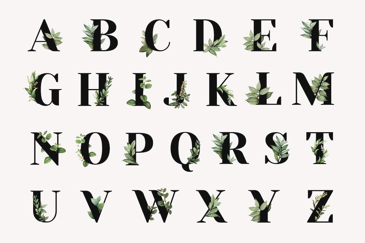 Botanical capital alphabet collection psd