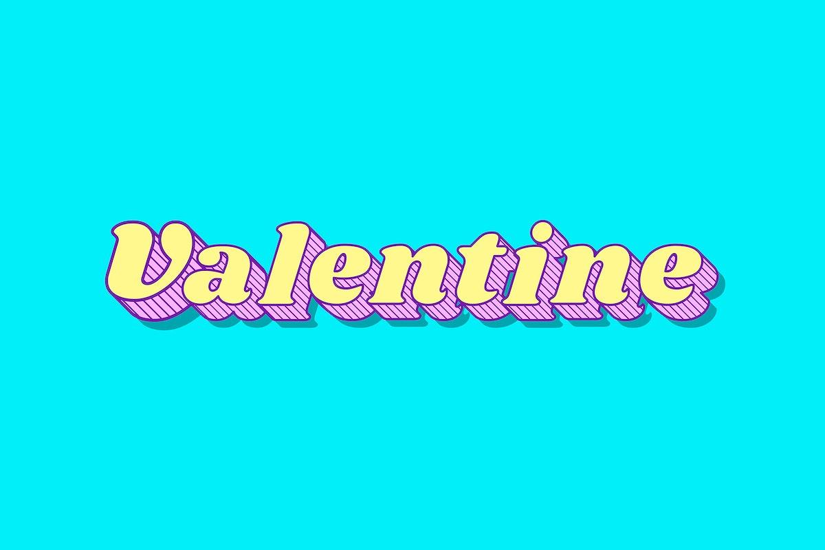 Valentine retro 3D shadow bold typography illustration