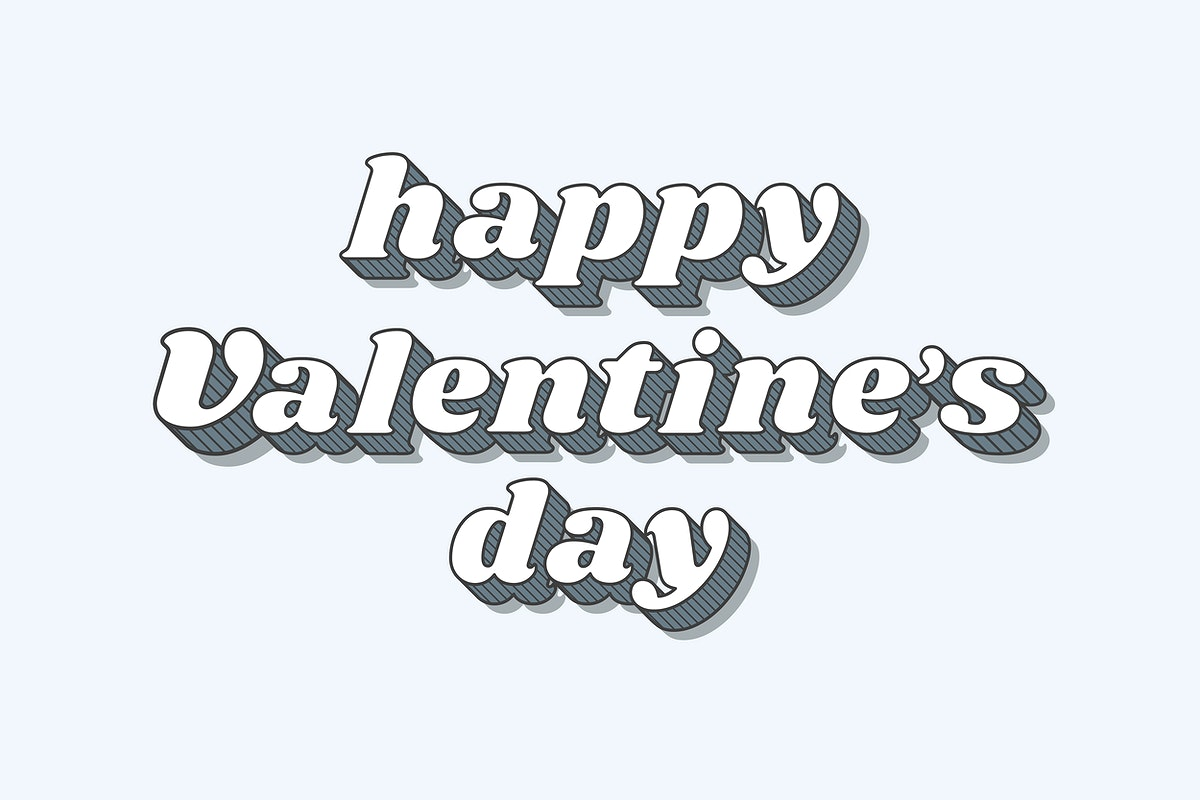 Happy valentine's day funky bold calligraphy illustration vector