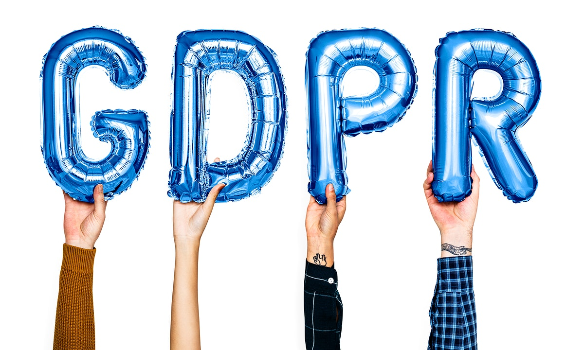 Blue balloon letters forming the word GDPR