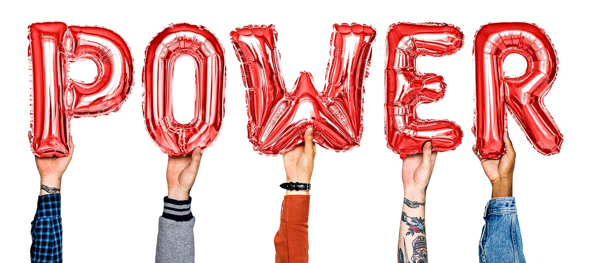 Red balloon letters forming the word power