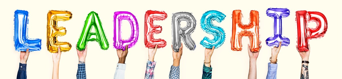 Colorful balloon letters forming the word leadership