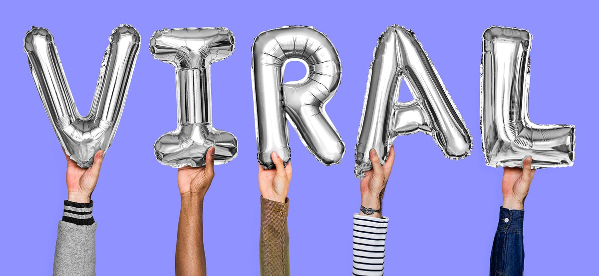 Gray silver alphabet helium balloons forming the text viral
